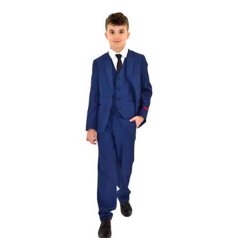 Ronaldo Blue Textured Designer Skinny Grad  5 pc Suit