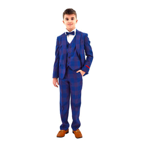 Ronaldo Blue Purple Plaid Designer Skinny Grad  5 pc Suit