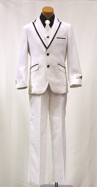 Paparazzi Boys 5 pc Suit White with Black Trim