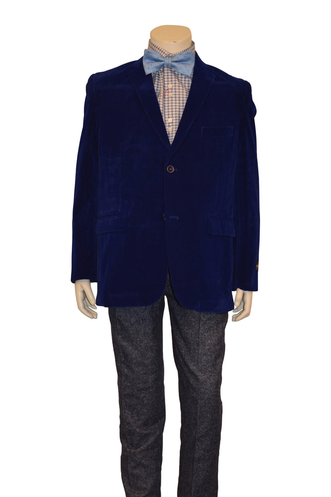 Ronaldo Boys Designer Single-Breasted Royal Blue Velvet Blazer Jacket