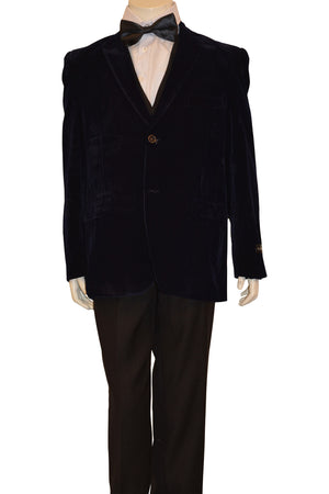 Ronaldo Boys Designer Single-Breasted Navy Blue Velvet Blazer Jacket