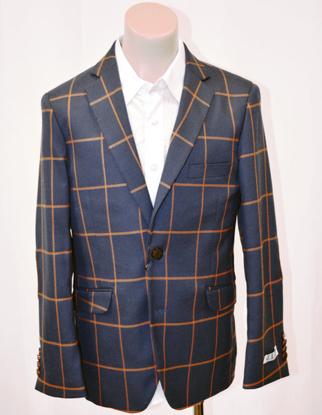 Boys Designer Windowpane Single-Breasted Blazer