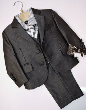 Pewter Two-Button Metallic Suit