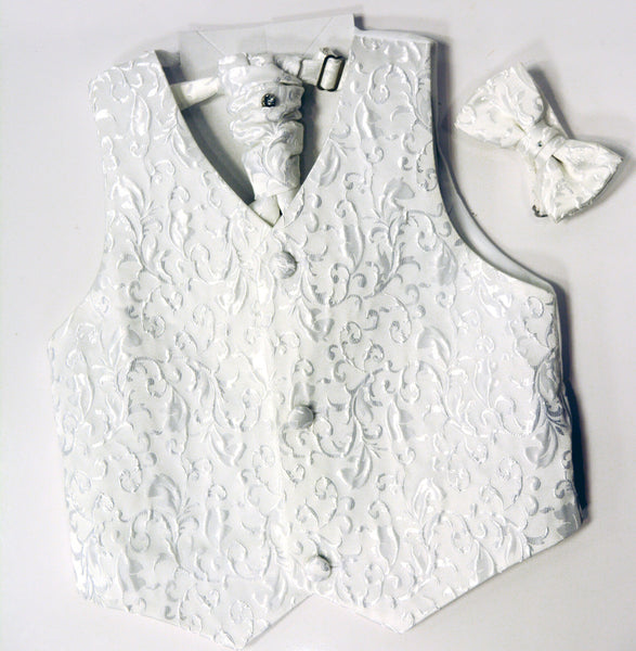 White or Cream Paisley Paparazzi Tuxedo Vest Set