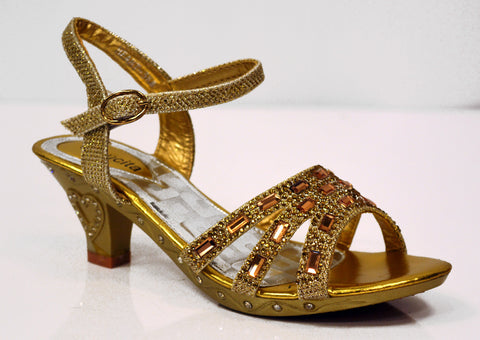 Gold heels with glitter