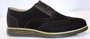 Boys Black Oxford Wing-Tips