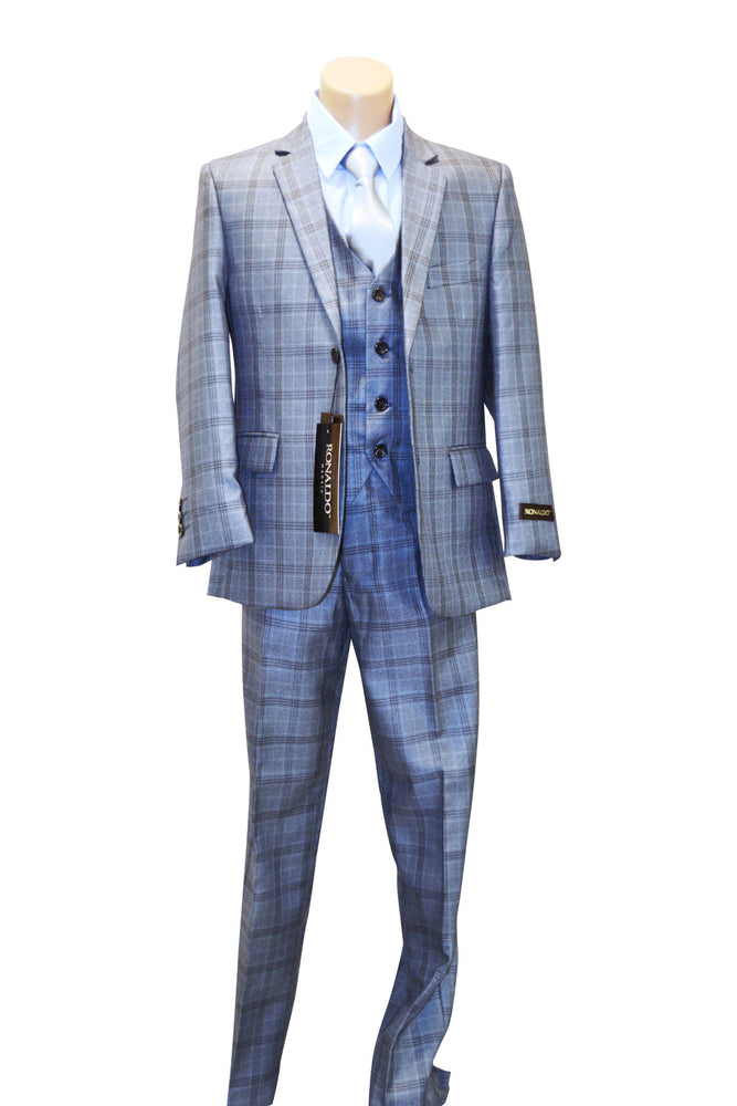 Ronaldo Metallic Blue Plaid 5 pc Suit