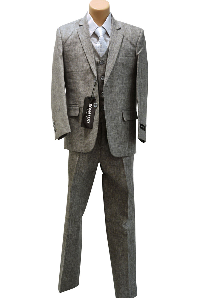Ronaldo Grey Linen 5 pc Suit