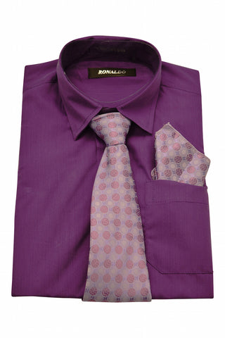 Ronaldo 3 pc Deep Purple Shirt Set