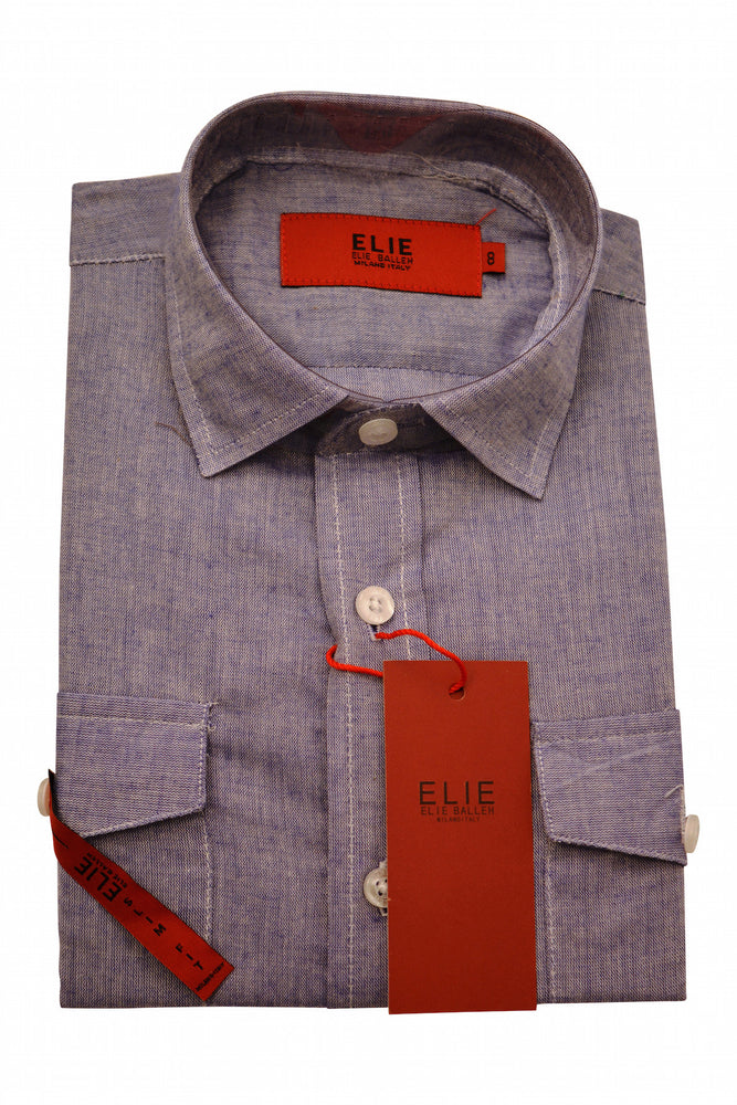 Designer Linen Dress Shirts in Denim Finish