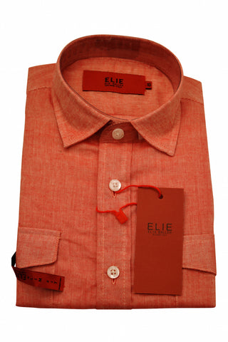 Designer Linen Dress Shirts in Coral