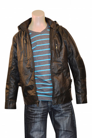 Boys' Faux Leather Biker Jacket with hood