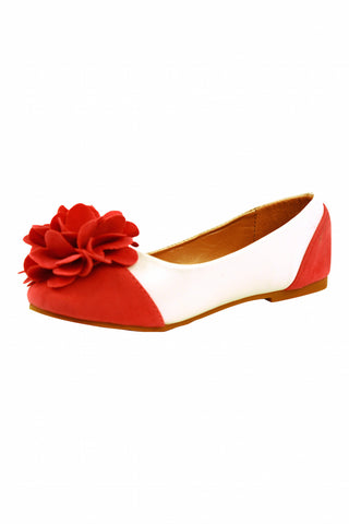 Girls White and Coral Flower Flats