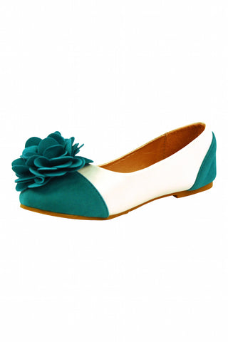 Girls White and Teal Flower Flats