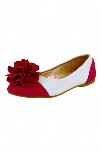 Girls White and Fuschia Flower Flats