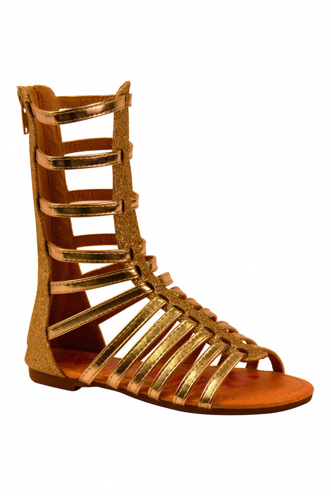 Girls Gladiator Gold Sandals