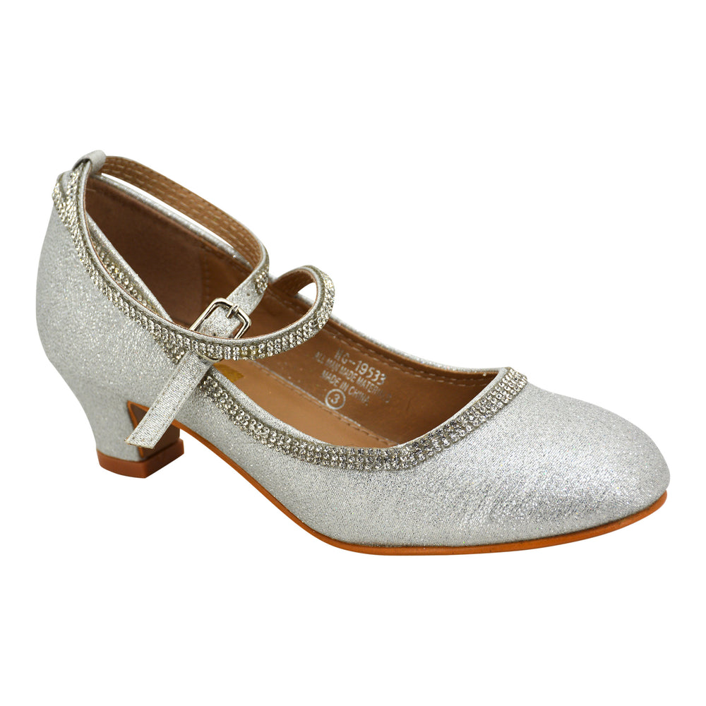 Girl Silver Diamond Communion Heel