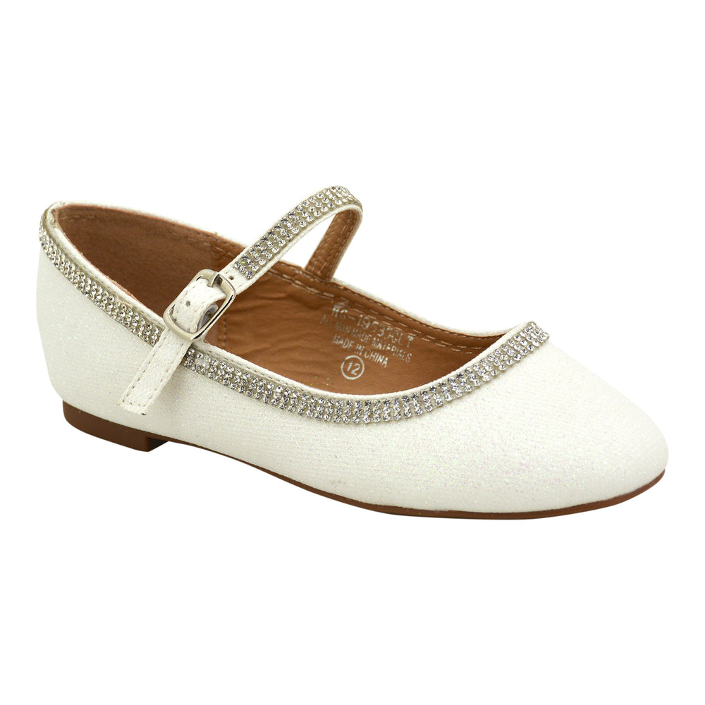 Girls Fancy White Diamond Flat