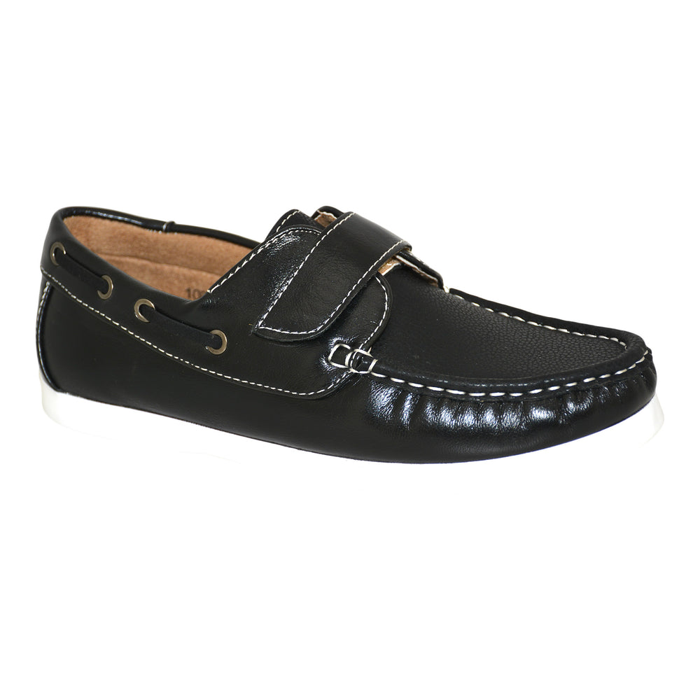 Black Leather Deck Loafers