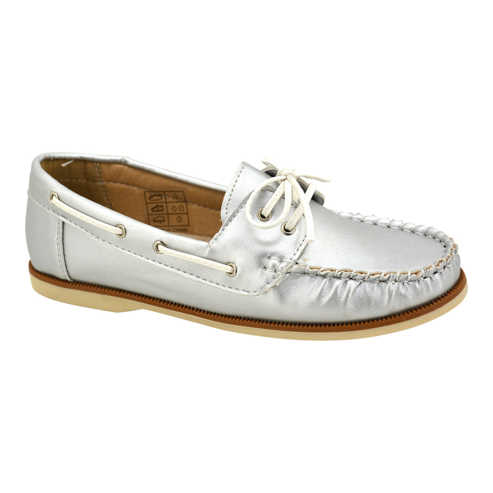 Silver Leather Deck Loafers