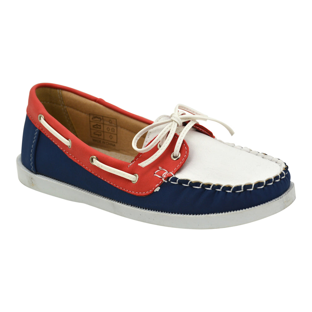 Blue/Red/White Leather Deck Loafers