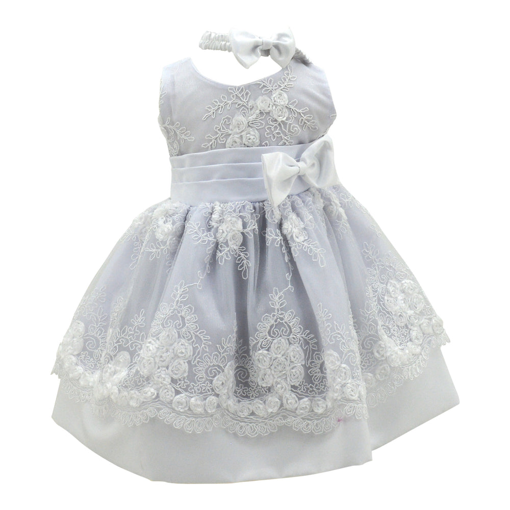 Baby Dress in Diamond Lace White