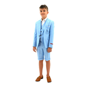 Ronaldo Sky Blue 3pc Skinny Designer Suit With Shorts