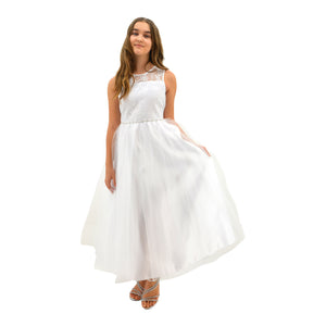 Paparazzi White Lace Communion Dress with Embellished diamond waist