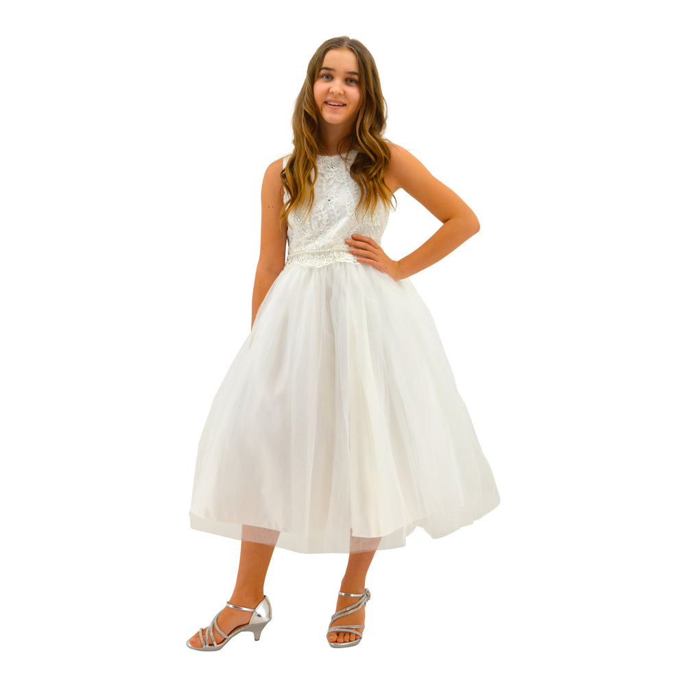 Paparazzi White Satin Communion Dress with Embellished diamond waist