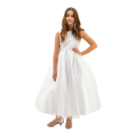 Paparazzi White Top Lace Communion Dress with Embellished diamond waist