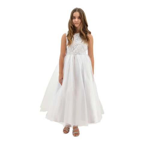 02d6482be50 ... Paparazzi White Top Lace Communion Dress with Embellished diamond waist