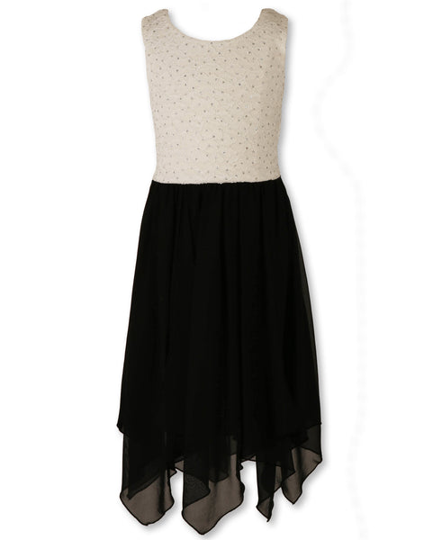 Sequence Dress White Lace and Black