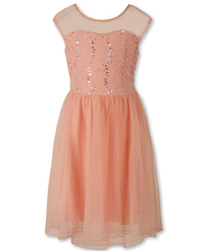 Designer Sequence Dress in Blush Peach