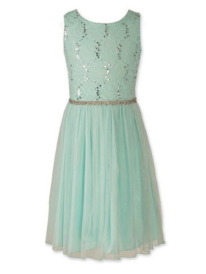 Designer Sequence Dress In Spring Mint