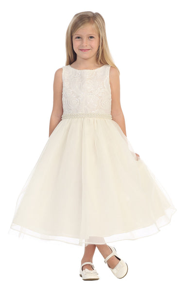Couture design dress in elegant Ivory