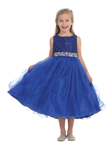 Couture design dress in Royal Blues