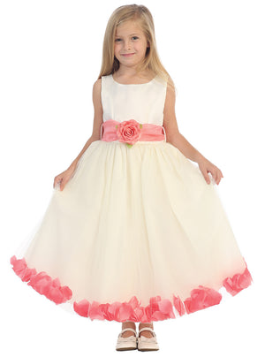Ashley Dress with Coral Petals and Sash