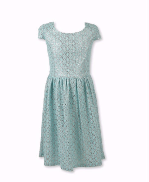 Designer Lace Pleated Dress mint Green