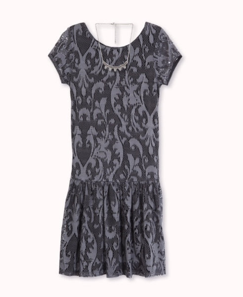 Designer Lace Pleated Dress in Black and Charcoal