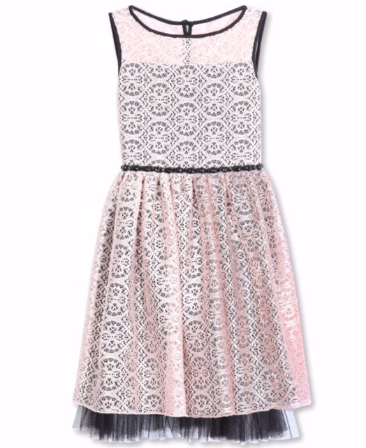 Designer Lace Pleated Dress in Pink and Black