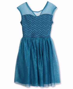 Designer Sequence Dress in Turquoise