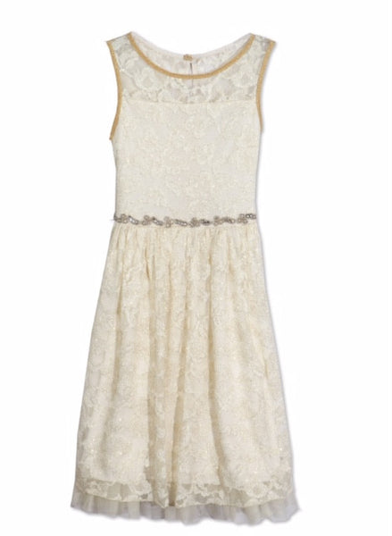 Designer Lace Pleated Dress in Ivory