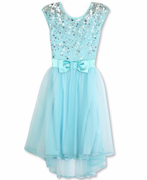 Designer Sequence Dress in Sky Blue