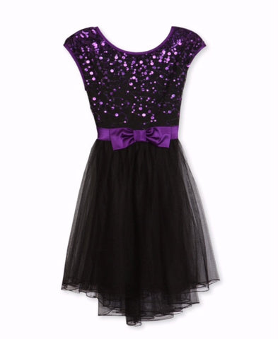Designer Sequence Dress in Purple and Black