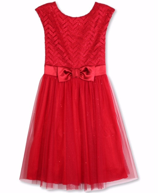 Designer Sequence Dress in Holiday Red