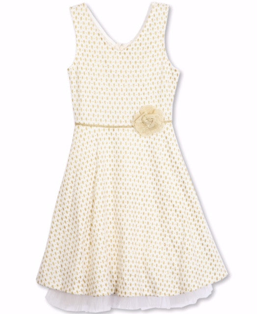 Designer Polka Dot Dress in Ivory and Gold