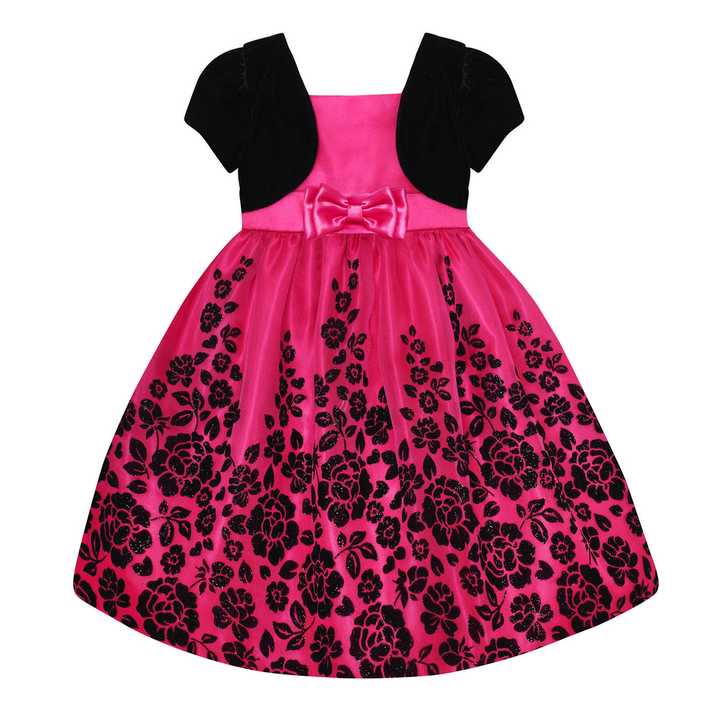 Paparazzi Dress in Black Velvet and Hot Pink