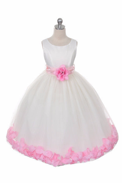 Ashley Dress with Pink Petals and Sash