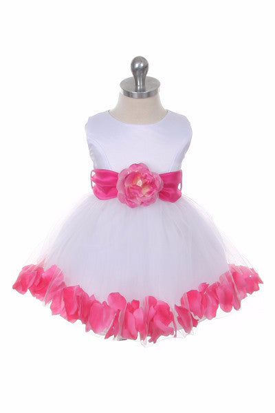 Ashley Baby Dress with Pink Petals and Sash