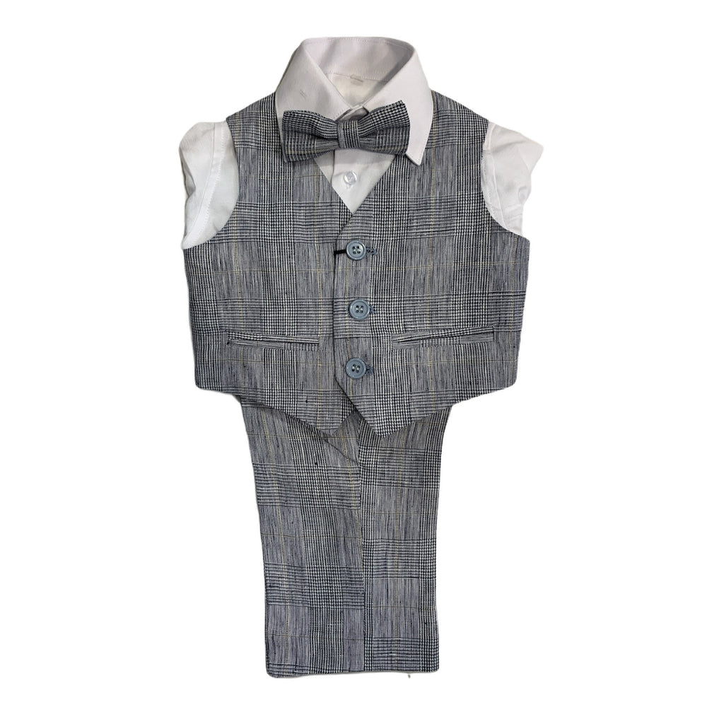 Paparazzi Blue Plaid Linen Boys 4 pc Vest Set